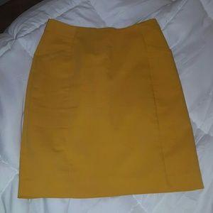H&M mustard midi pencil skirt